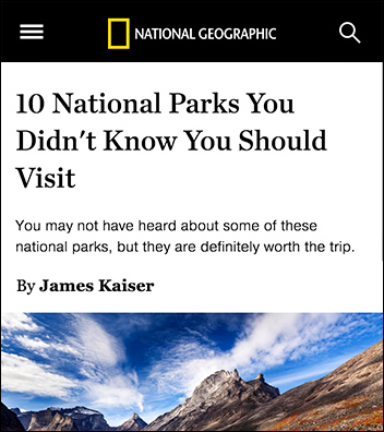 National Geographic: 10 National Parks You Didn't Know You Should Visit