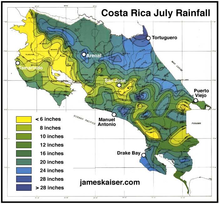 Costa Rica July rainfall map