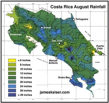 Costa Rica August rainfall map