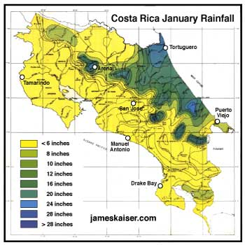 Costa Rica January Rainfall