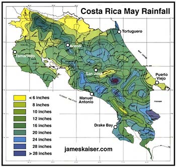 Costa Rica May rainfall map