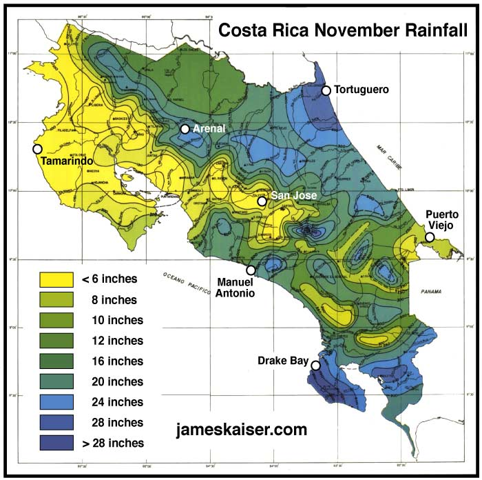 Costa Rica November rainfall map
