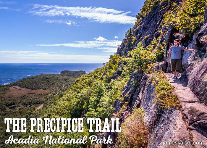 Narrow path on the Precipice Trail in Acadia National Park.